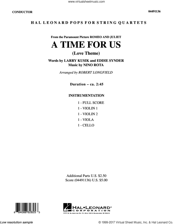 A Time for Us (from Romeo and Juliet) (COMPLETE) sheet music for string quartet (Strings) by Robert Longfield, Eddie Snyder, Larry Kusik and Nino Rota, intermediate orchestra