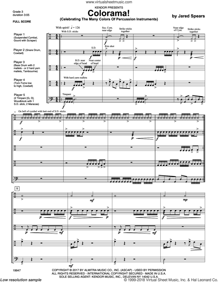 Colorama! (Celebrating The Many Colors Of Percussion Instruments) (COMPLETE) sheet music for percussions by Jared Spears, intermediate skill level