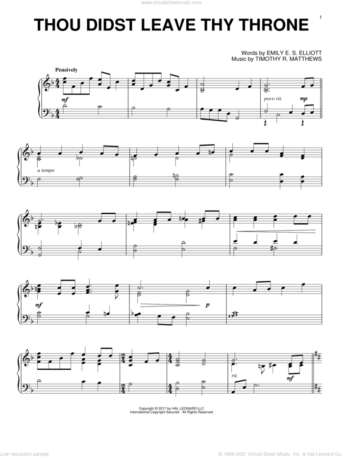 Thou Didst Leave Thy Throne sheet music for piano solo by Timothy R. Matthews and Emily E. S. Elliott, intermediate skill level