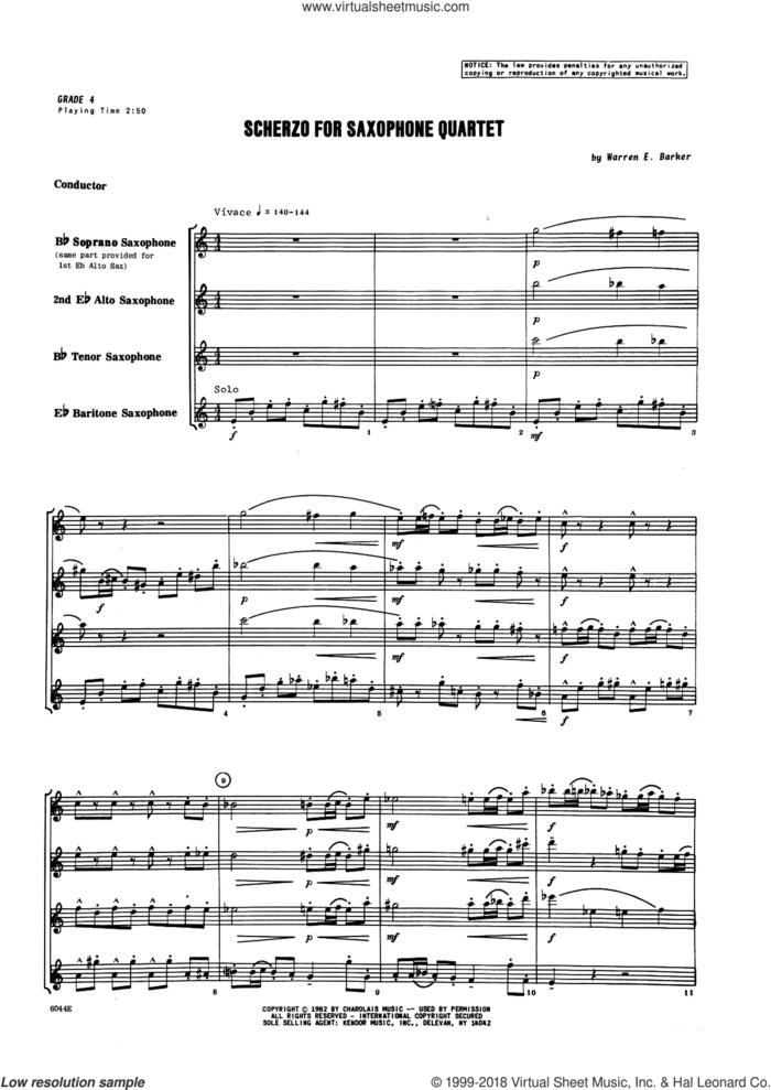 Scherzo for Saxophone Quartet (COMPLETE) sheet music for saxophone quartet by Warren Barker, intermediate skill level