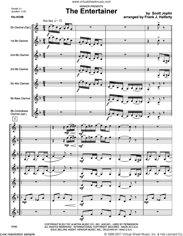 The Entertainer (COMPLETE) sheet music for clarinet septet by Frank J. Halferty and Scott Joplin, intermediate skill level