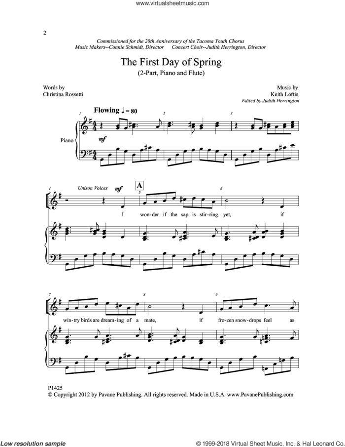 The First Day of Spring sheet music for choir (2-Part) by Christina Rossetti and Keith Loftis, intermediate duet