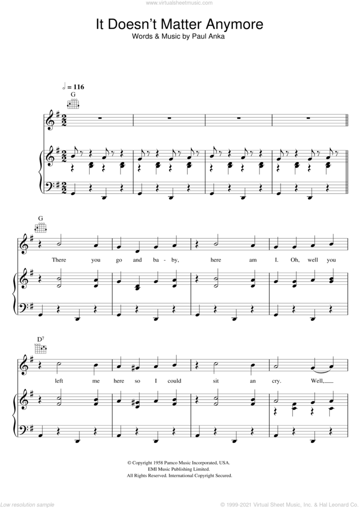 It Doesn't Matter Anymore sheet music for voice, piano or guitar by Buddy Holly and Paul Anka, intermediate skill level