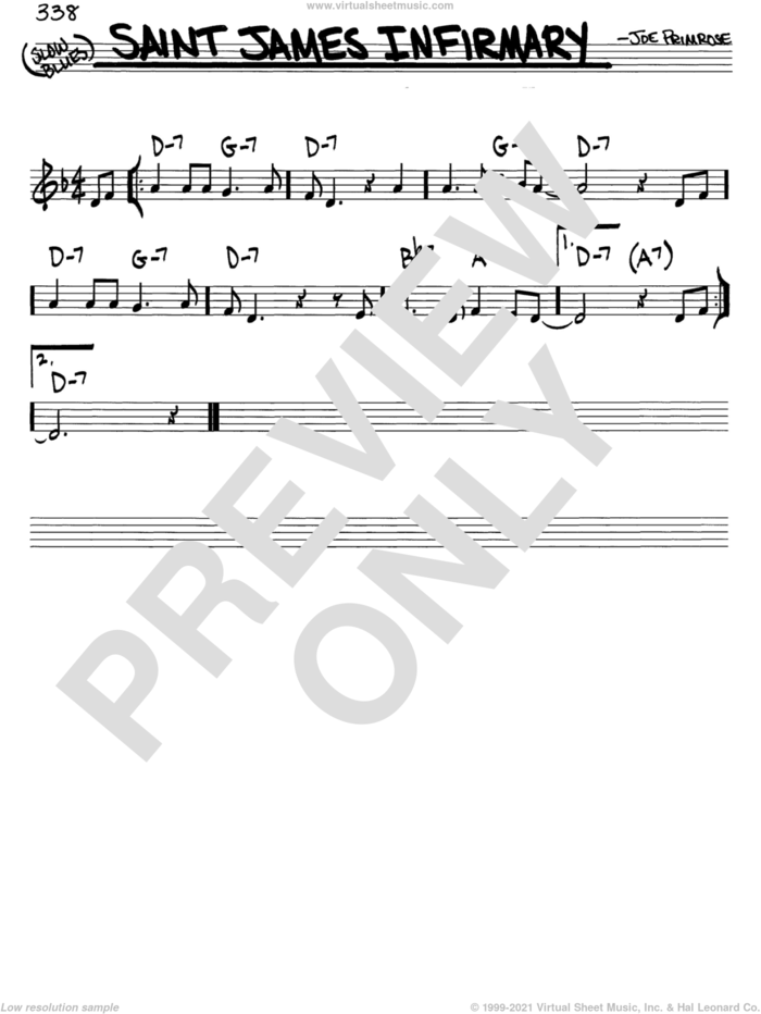 Saint James Infirmary sheet music for voice and other instruments (in C) by Joe Primrose, intermediate skill level