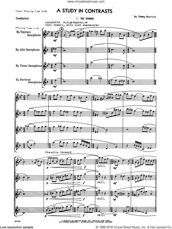 A Study In Contrasts (COMPLETE) sheet music for saxophone quartet by Sammy Nestico, intermediate skill level