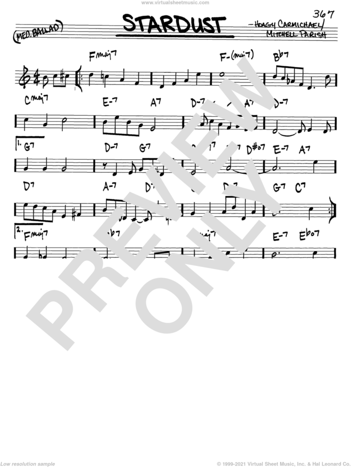 Stardust sheet music for voice and other instruments (in C) by Hoagy Carmichael and Mitchell Parish, intermediate skill level