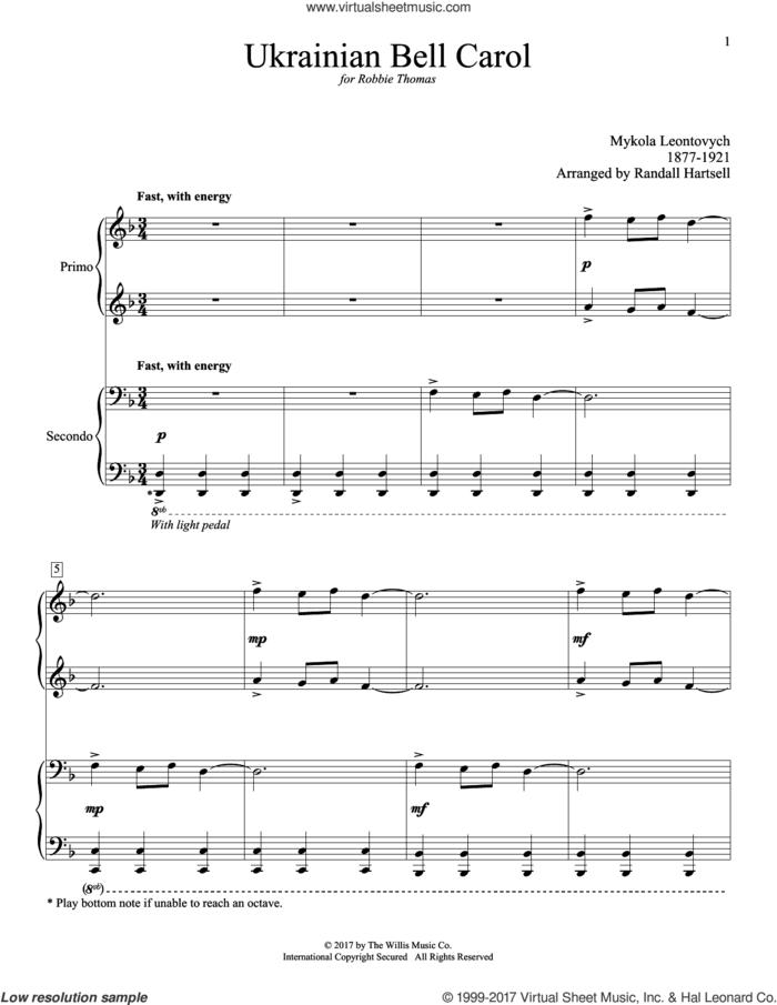Ukrainian Bell Carol sheet music for piano four hands by Randall Hartsell, Miscellaneous and Mykola Leontovych, intermediate skill level