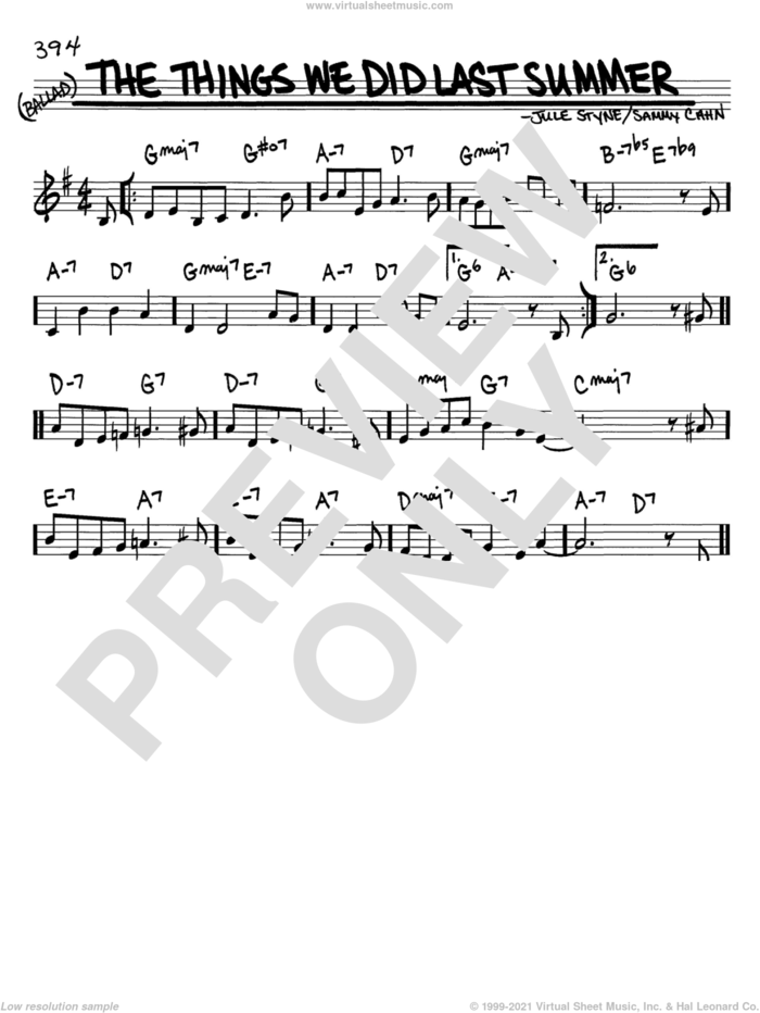 The Things We Did Last Summer sheet music for voice and other instruments (in C) by Sammy Cahn and Jule Styne, intermediate skill level