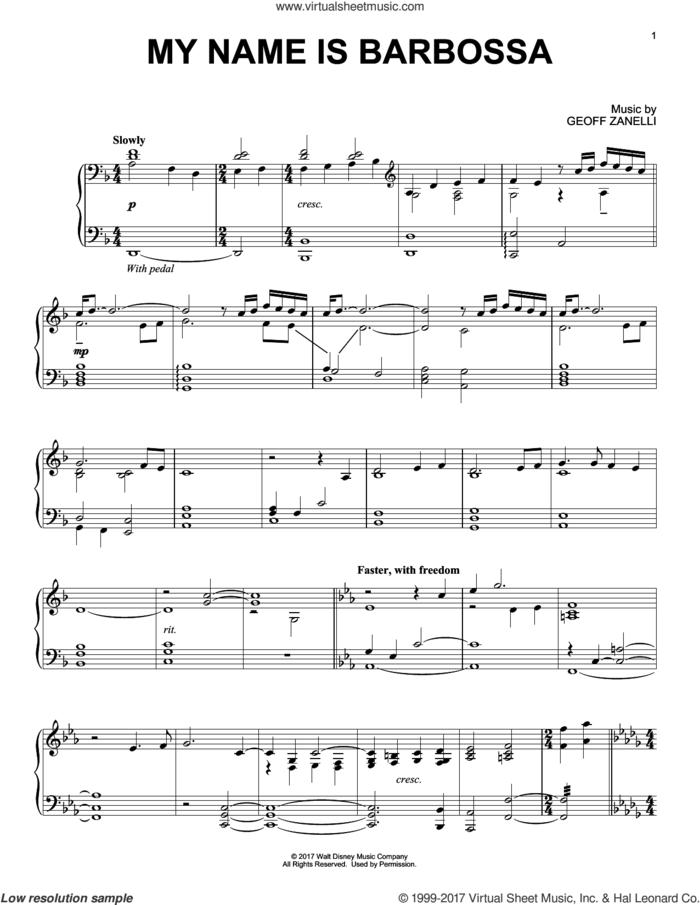 My Name Is Barbossa sheet music for piano solo by Geoff Zanelli, intermediate skill level