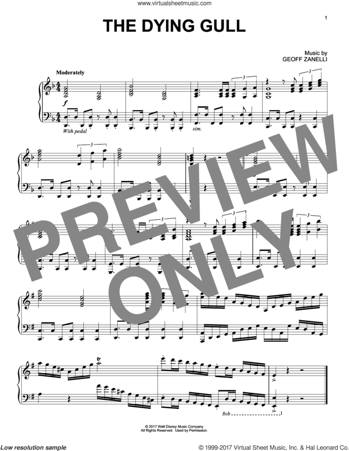 The Dying Gull sheet music for piano solo by Geoff Zanelli, intermediate skill level