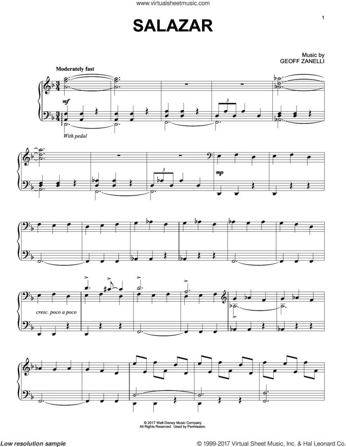 Salazar sheet music for piano solo by Geoff Zanelli, intermediate skill level