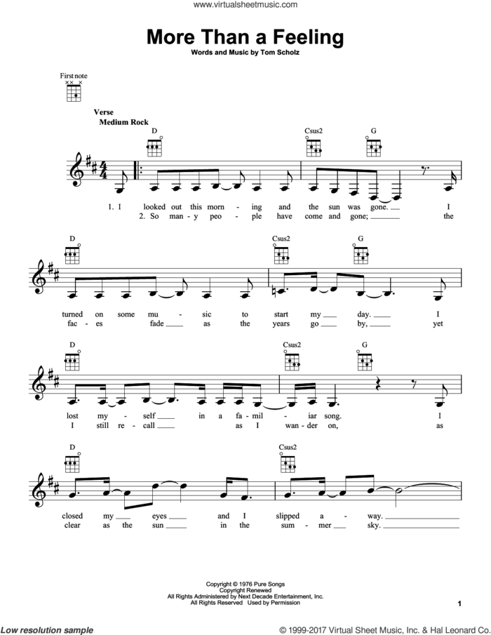 More Than A Feeling sheet music for ukulele by Boston and Tom Scholz, intermediate skill level