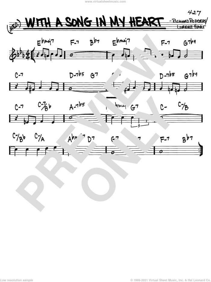 With A Song In My Heart sheet music for voice and other instruments (in C) by Rodgers & Hart, Lorenz Hart and Richard Rodgers, intermediate skill level