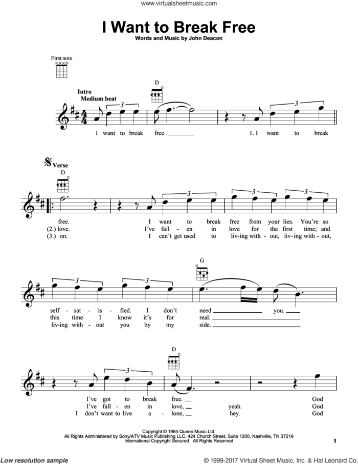 I Want To Break Free sheet music for ukulele by Queen and John Deacon, intermediate skill level