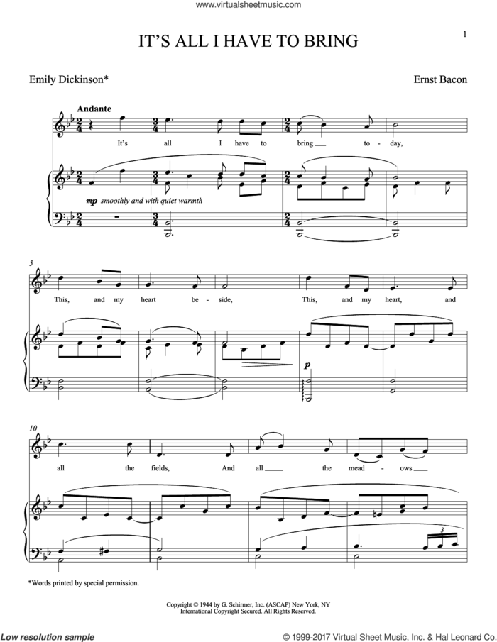 It's All I Have To Bring (Bacon) sheet music for voice and piano (Soprano) by Emily Dickinson and Ernst Bacon, classical score, intermediate skill level