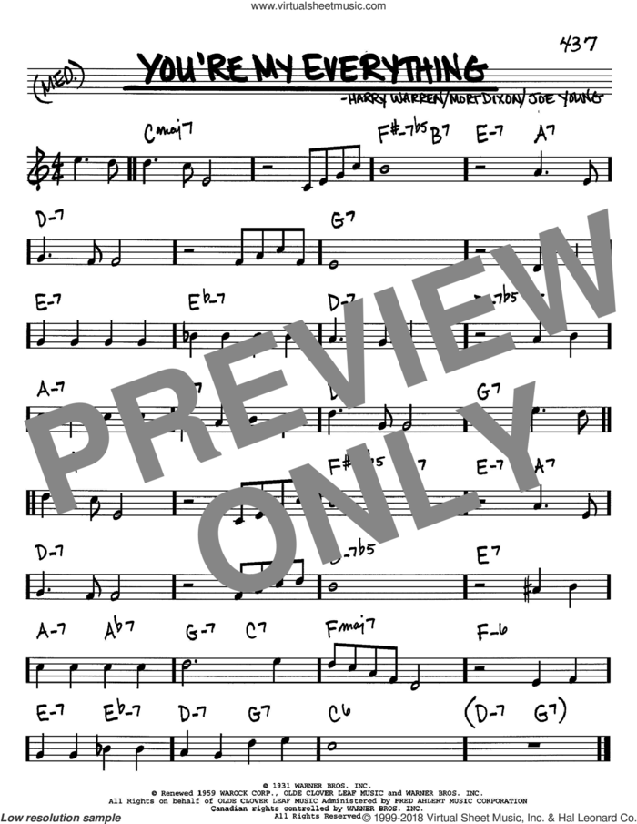 You're My Everything sheet music for voice and other instruments (in C) by Mort Dixon, Harry Warren and Joe Young, intermediate skill level
