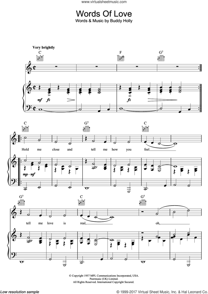Words Of Love sheet music for voice, piano or guitar by Buddy Holly, intermediate skill level