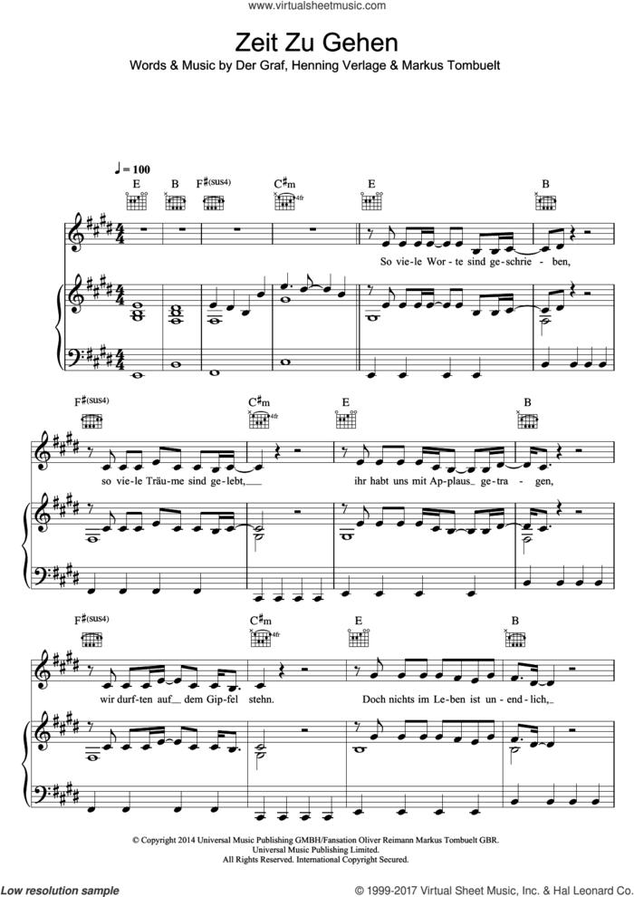 Zeit Zu Gehen sheet music for voice, piano or guitar by Unheilig, Der Graf, Henning Verlage and Markus Tombuelt, intermediate skill level