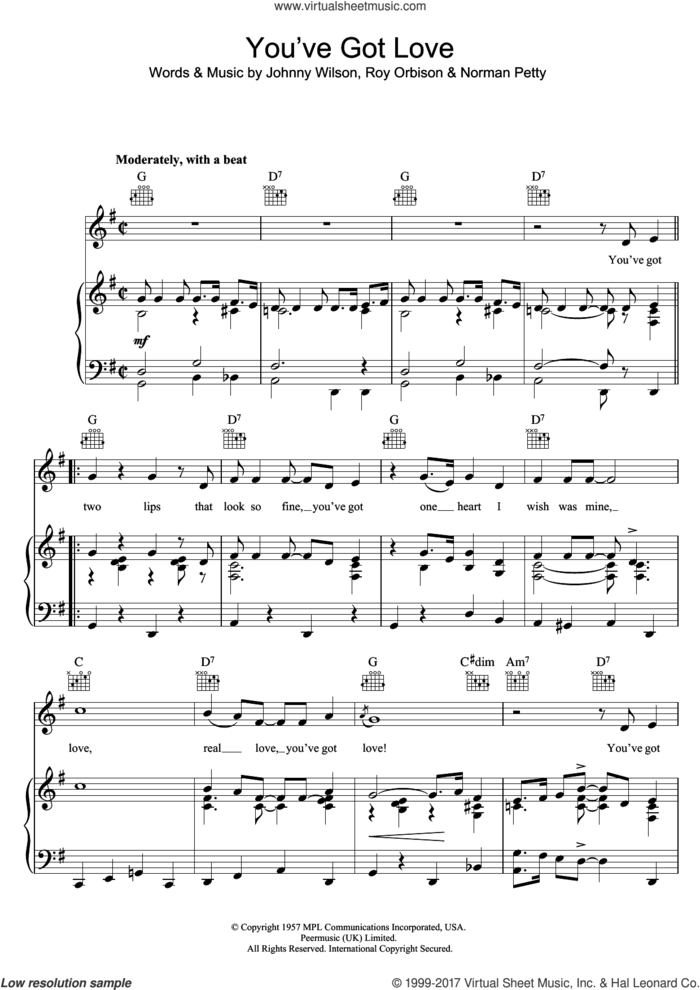 You've Got Love sheet music for voice, piano or guitar by Buddy Holly, Johnny Wilson, Norman Petty and Roy Orbison, intermediate skill level