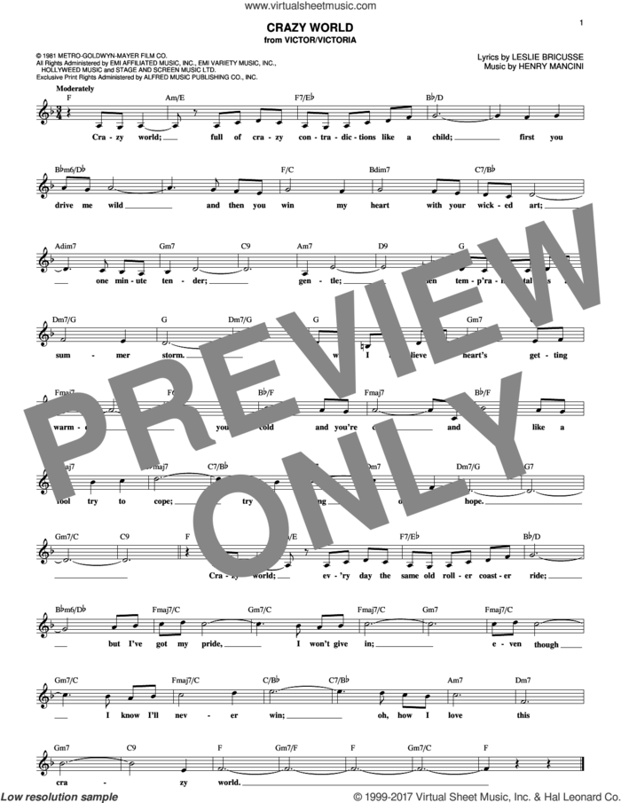 Crazy World sheet music for voice and other instruments (fake book) by Henry Mancini and Leslie Bricusse, intermediate skill level
