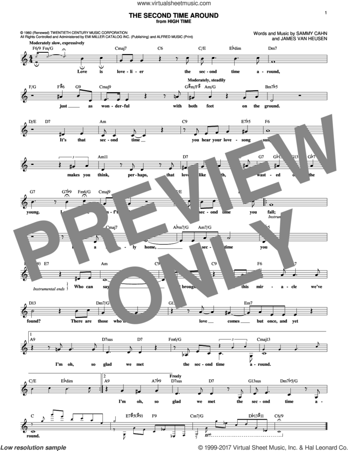 The Second Time Around sheet music for voice and other instruments (fake book) by Sammy Cahn and Jimmy van Heusen, intermediate skill level