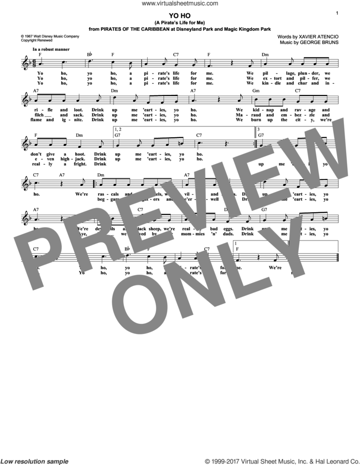 Yo Ho (A Pirate's Life For Me) sheet music for voice and other instruments (fake book) by Xavier Atencio and George Bruns, intermediate skill level