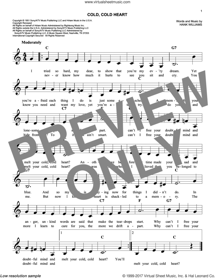 Cold, Cold Heart sheet music for voice and other instruments (fake book) by Hank Williams, intermediate skill level