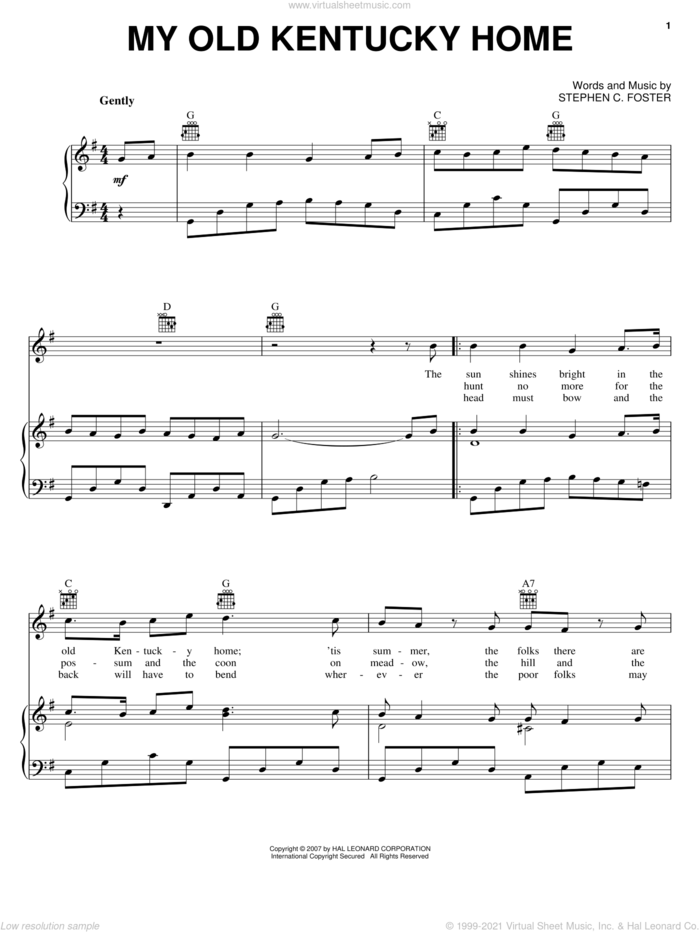 My Old Kentucky Home sheet music for voice, piano or guitar by Stephen Foster, intermediate skill level