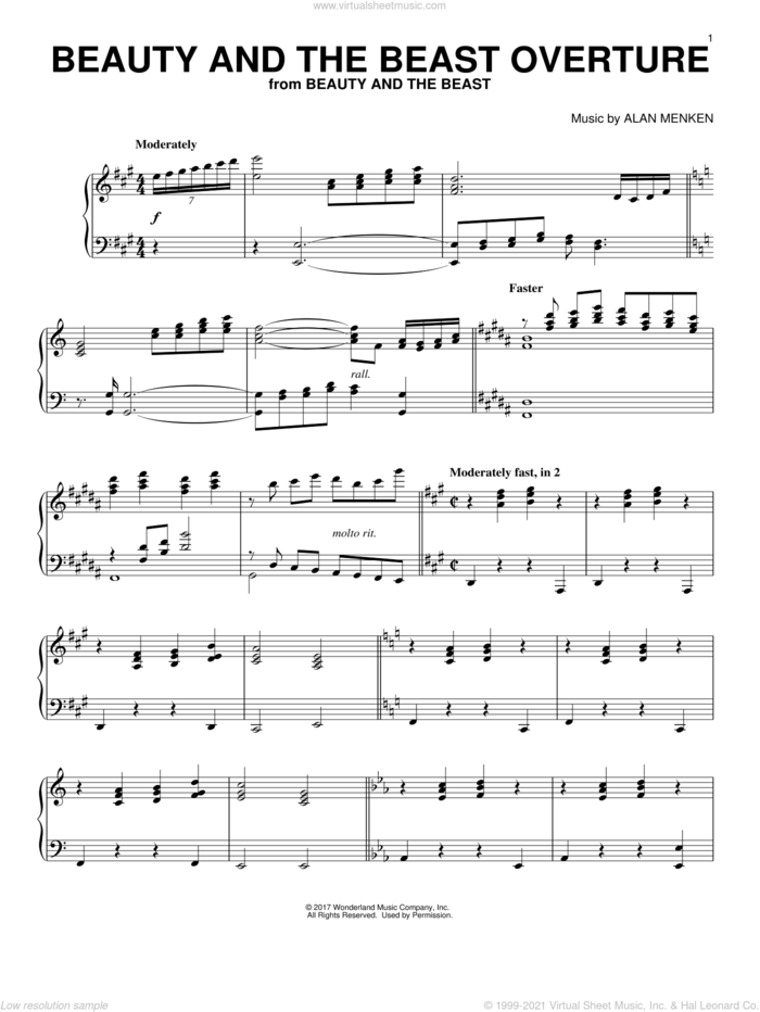 Beauty And The Beast Overture sheet music for piano solo by Alan Menken, intermediate skill level