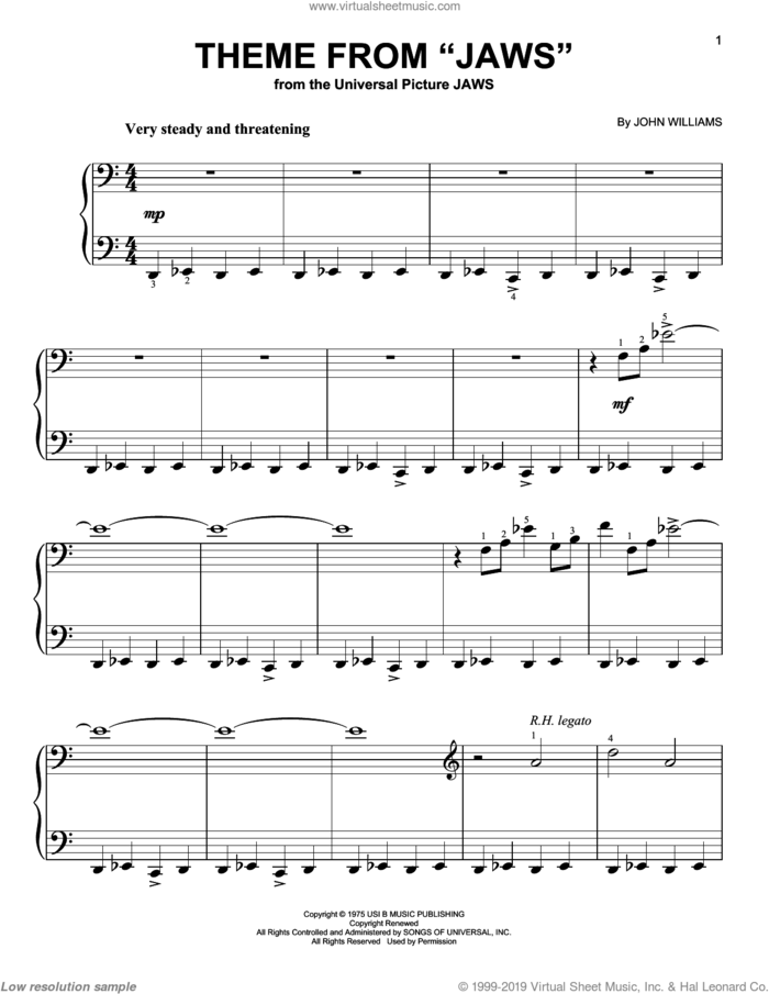 Theme from Jaws, (easy) sheet music for piano solo by John Williams, easy skill level