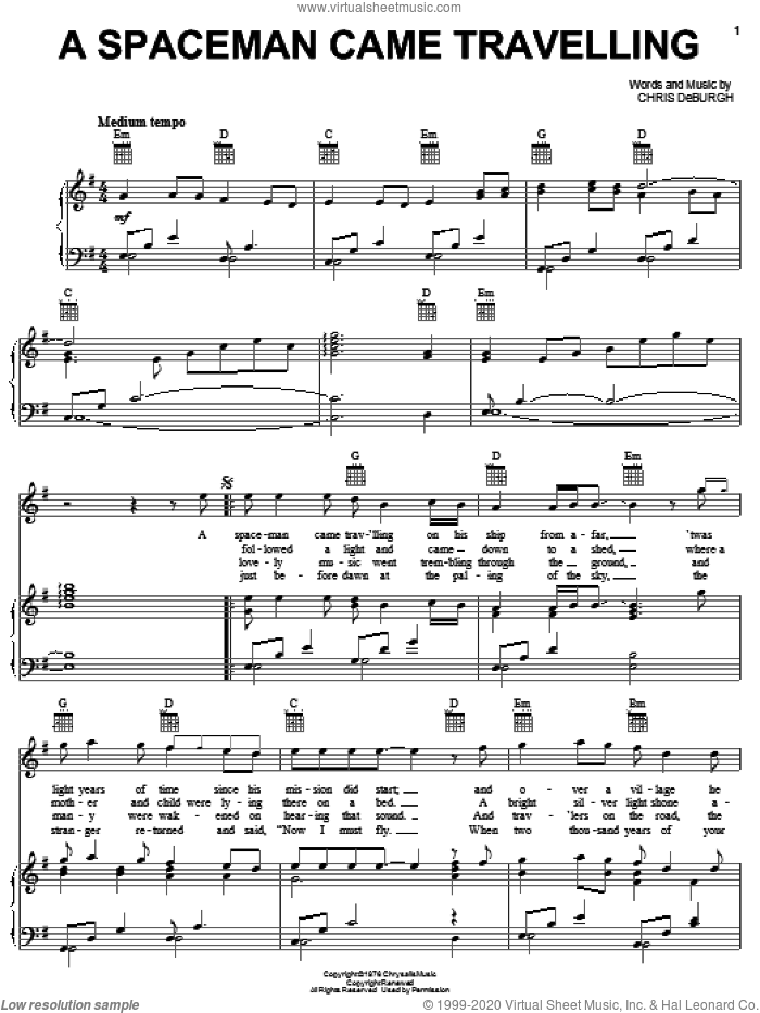 A Spaceman Came Travelling sheet music for voice, piano or guitar by Chris de Burgh, intermediate skill level