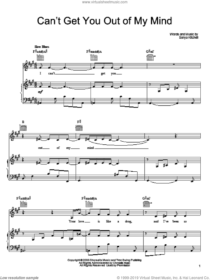Can't Get You Out Of My Mind sheet music for voice, piano or guitar by Sonya Kitchell, intermediate skill level