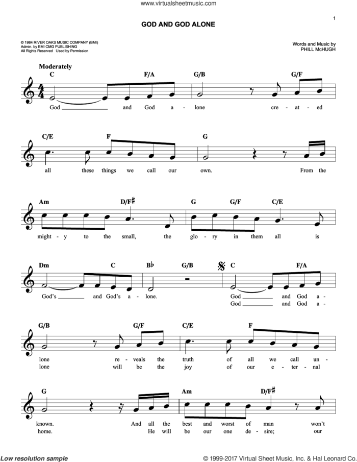 God And God Alone sheet music for voice and other instruments (fake book) by Phill McHugh, intermediate skill level