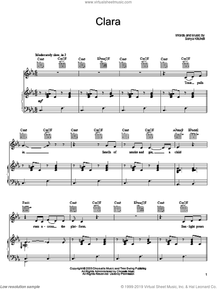 Clara sheet music for voice, piano or guitar by Sonya Kitchell, intermediate skill level