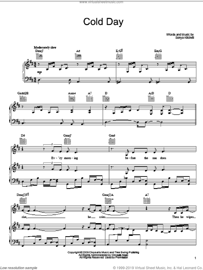 Cold Day sheet music for voice, piano or guitar by Sonya Kitchell, intermediate skill level