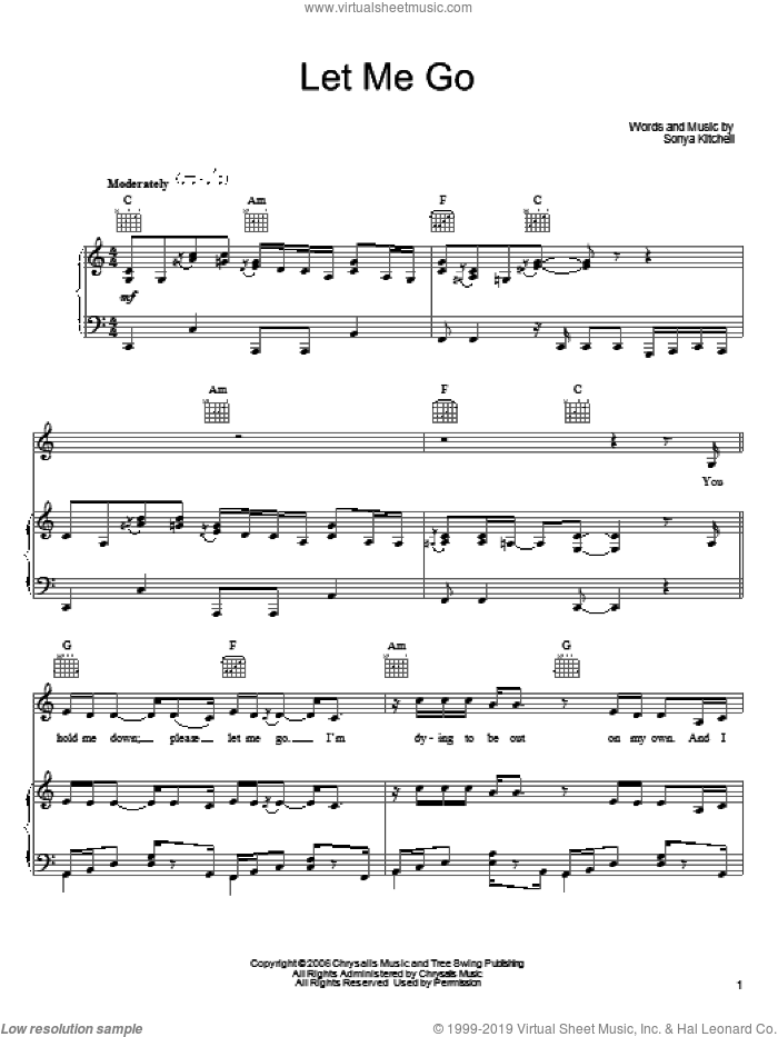 Let Me Go sheet music for voice, piano or guitar by Sonya Kitchell, intermediate skill level