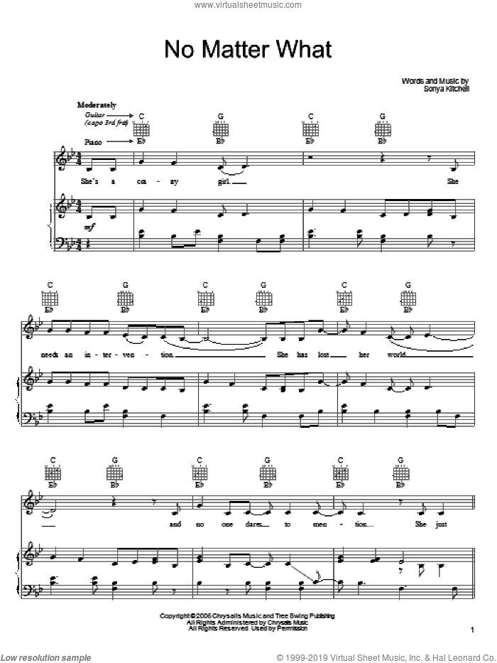 No Matter What sheet music for voice, piano or guitar by Sonya Kitchell, intermediate skill level