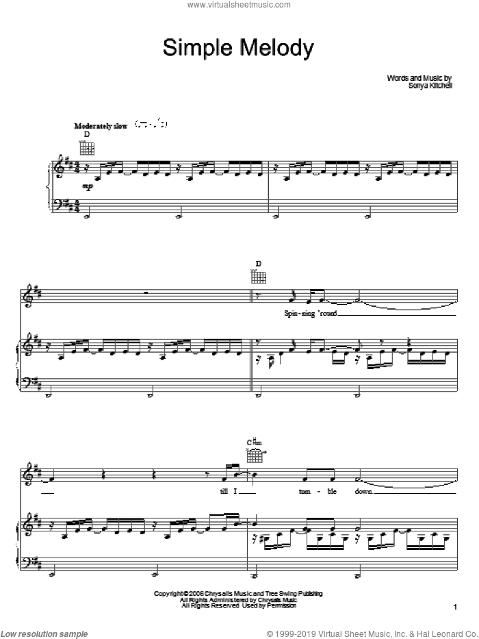 Simple Melody sheet music for voice, piano or guitar by Sonya Kitchell, intermediate skill level