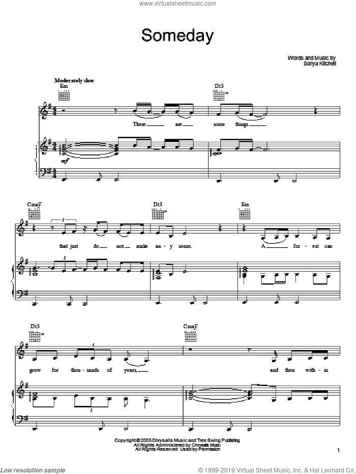 Someday sheet music for voice, piano or guitar by Sonya Kitchell, intermediate skill level