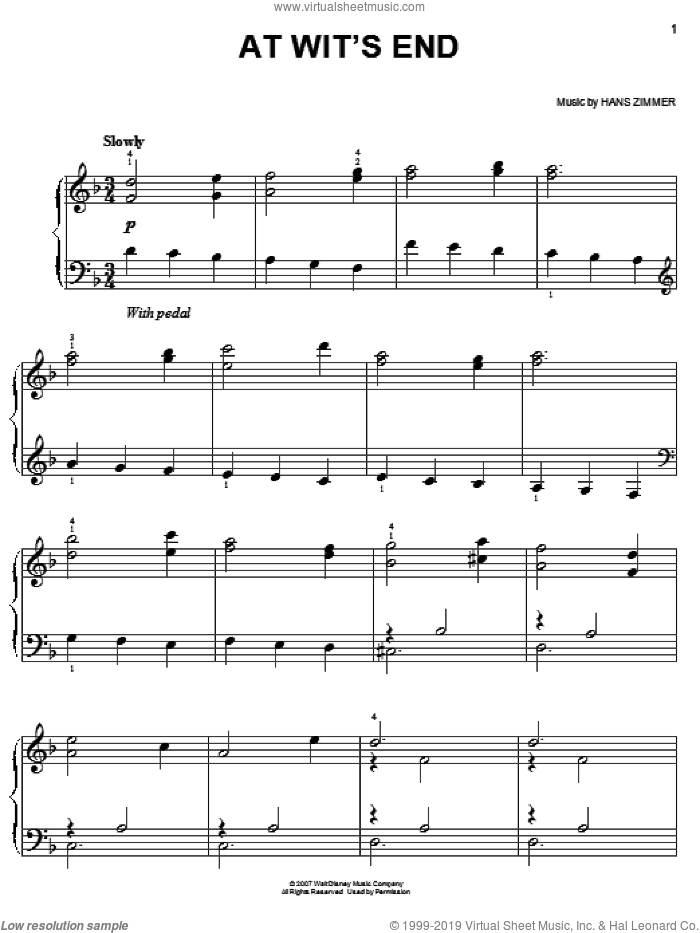 At Wit's End (from Pirates Of The Caribbean: At World's End) sheet music for piano solo by Hans Zimmer, easy skill level