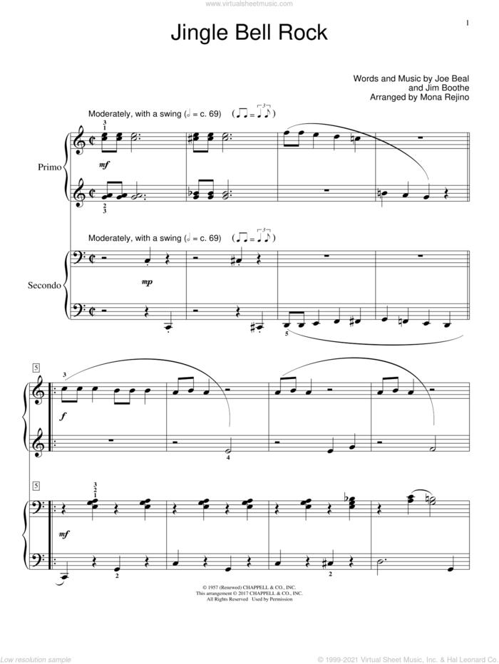 Jingle Bell Rock sheet music for piano four hands by Joe Beal, intermediate skill level