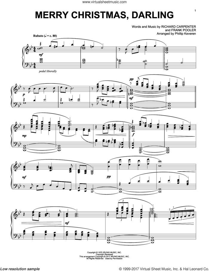 Merry Christmas, Darling [Classical version] (arr. Phillip Keveren) sheet music for piano solo by Richard Carpenter, Phillip Keveren and Frank Pooler, intermediate skill level