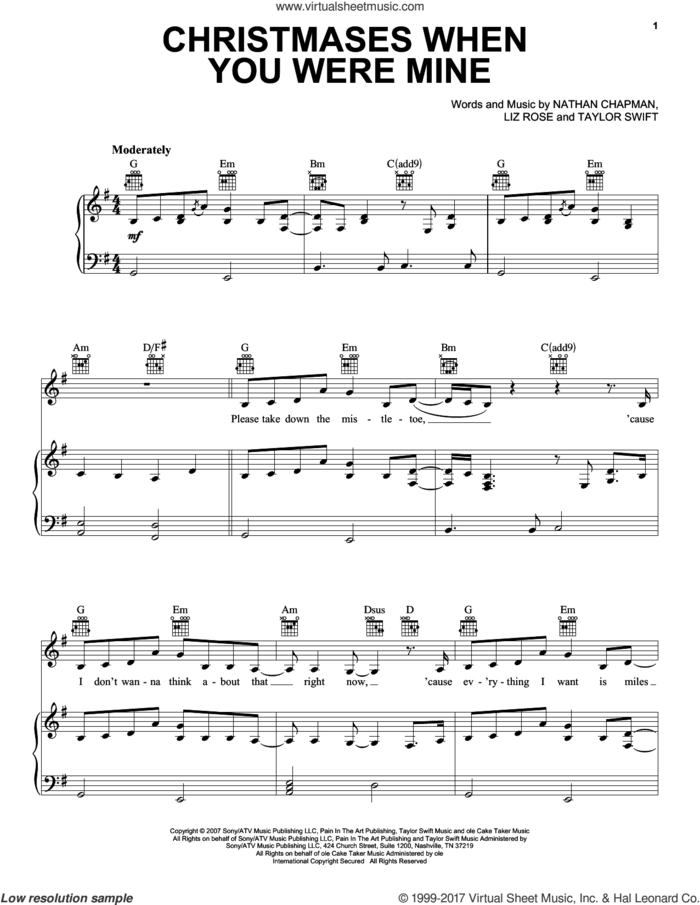 Christmases When You Were Mine sheet music for voice, piano or guitar by Taylor Swift, Liz Rose and Nathan Chapman, intermediate skill level