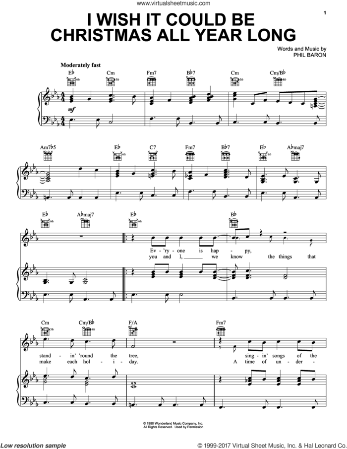 I Wish It Could Be Christmas All Year Long sheet music for voice, piano or guitar by Phil Baron, intermediate skill level