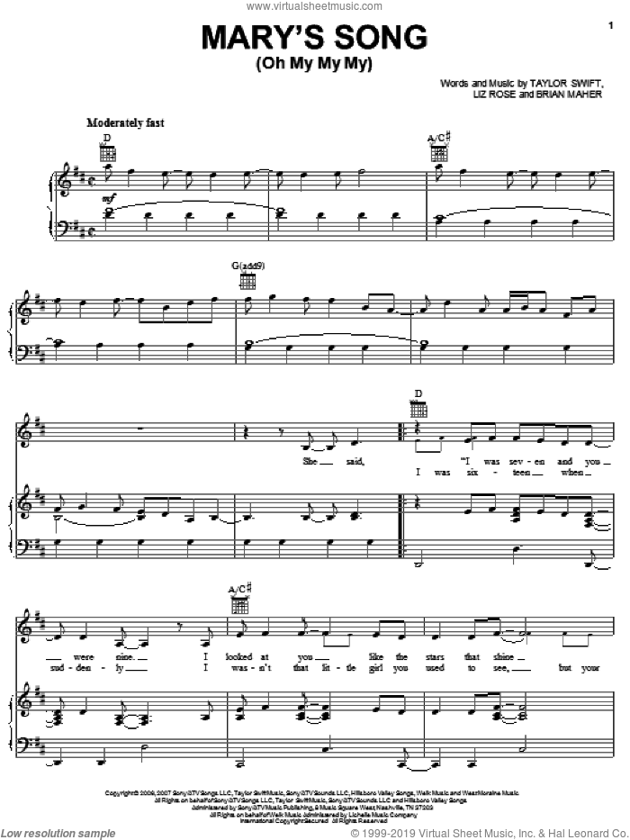 Mary's Song (Oh My My My) sheet music for voice, piano or guitar by Taylor Swift, Brian Maher and Liz Rose, intermediate skill level