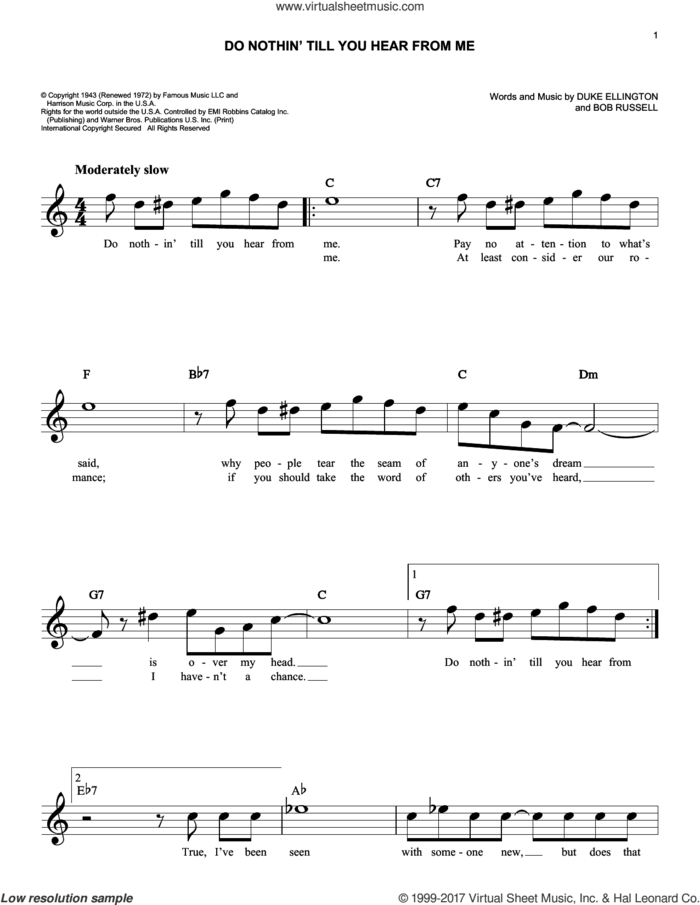 Do Nothin' Till You Hear From Me sheet music for voice and other instruments (fake book) by Duke Ellington and Bob Russell, intermediate skill level