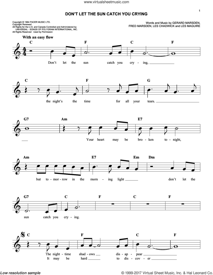 Don't Let The Sun Catch You Crying sheet music for voice and other instruments (fake book) by Gerry & The Pacemakers, Fred Marsden, Gerry Marsden, Les Chadwick and Les Maguire, intermediate skill level