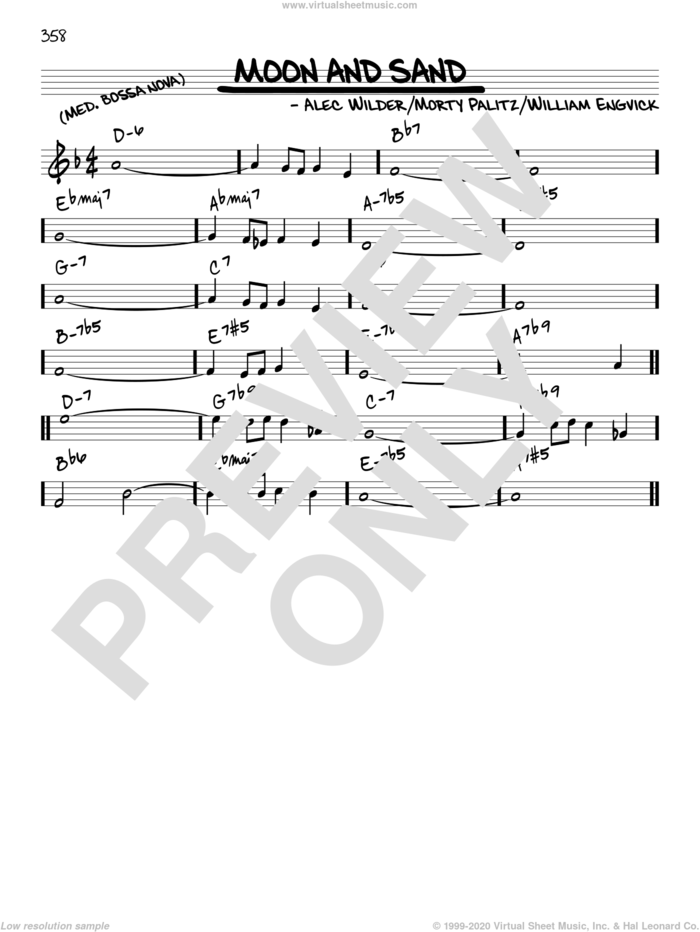 Moon And Sand sheet music for voice and other instruments (in C) by Alec Wilder, Morty Palitz and William Engvick, intermediate skill level