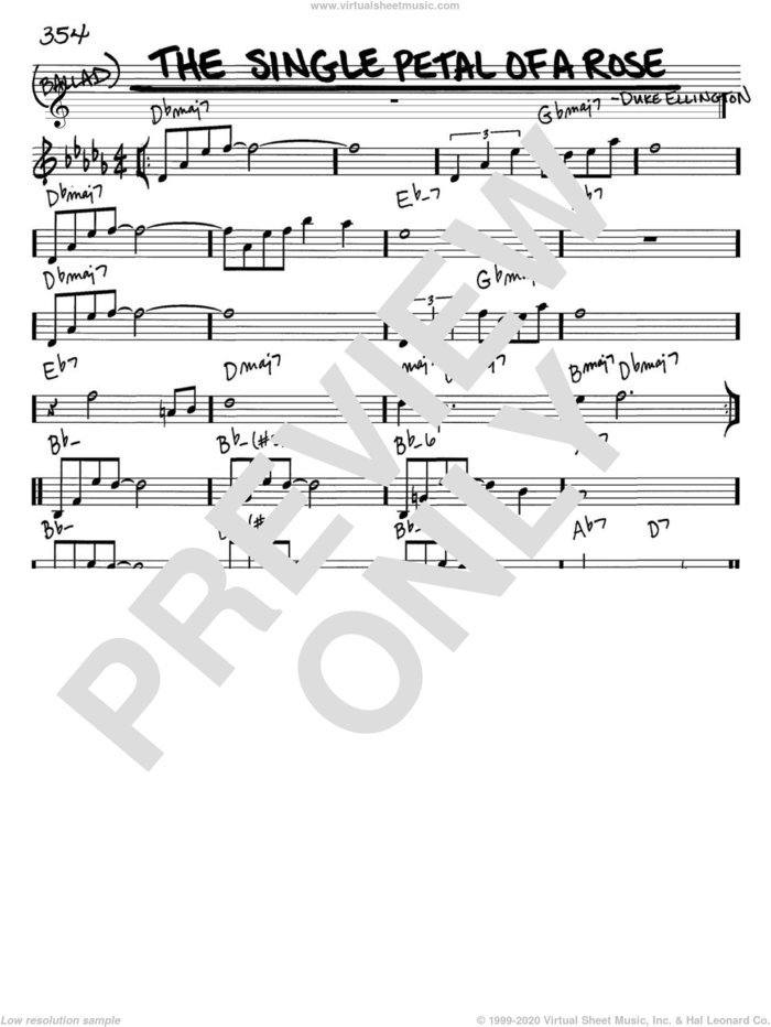 The Single Petal Of A Rose sheet music for voice and other instruments (in C) by Duke Ellington, intermediate skill level