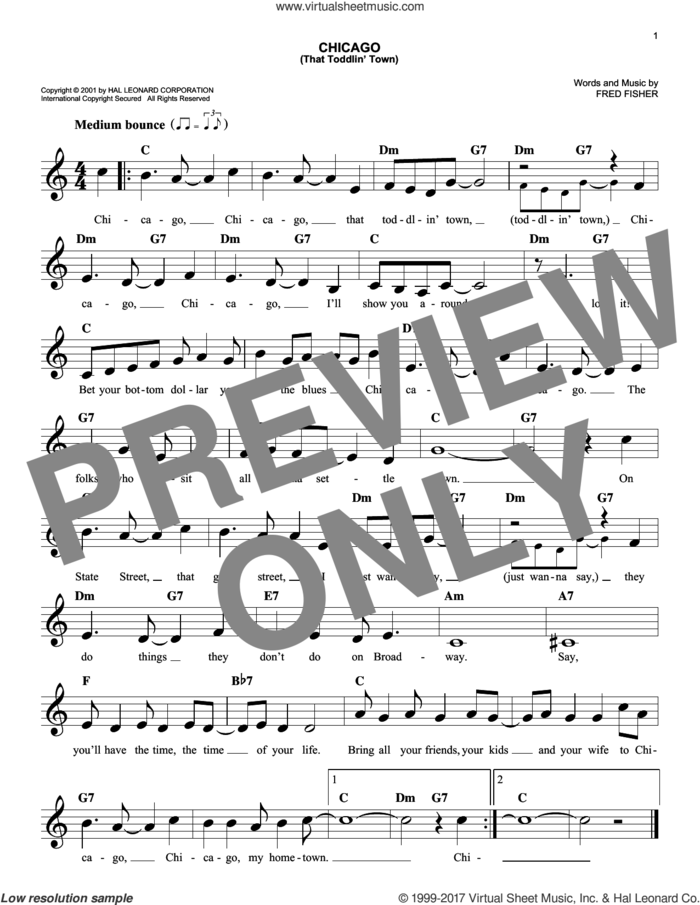 Chicago (That Toddlin' Town) sheet music for voice and other instruments (fake book) by Frank Sinatra and Fred Fisher, intermediate skill level